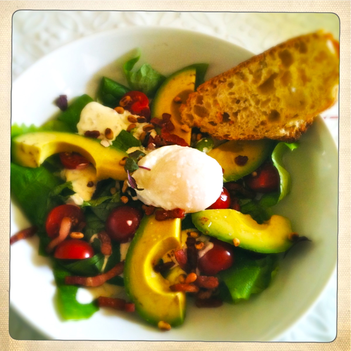 salade avocado gepocheerd ei