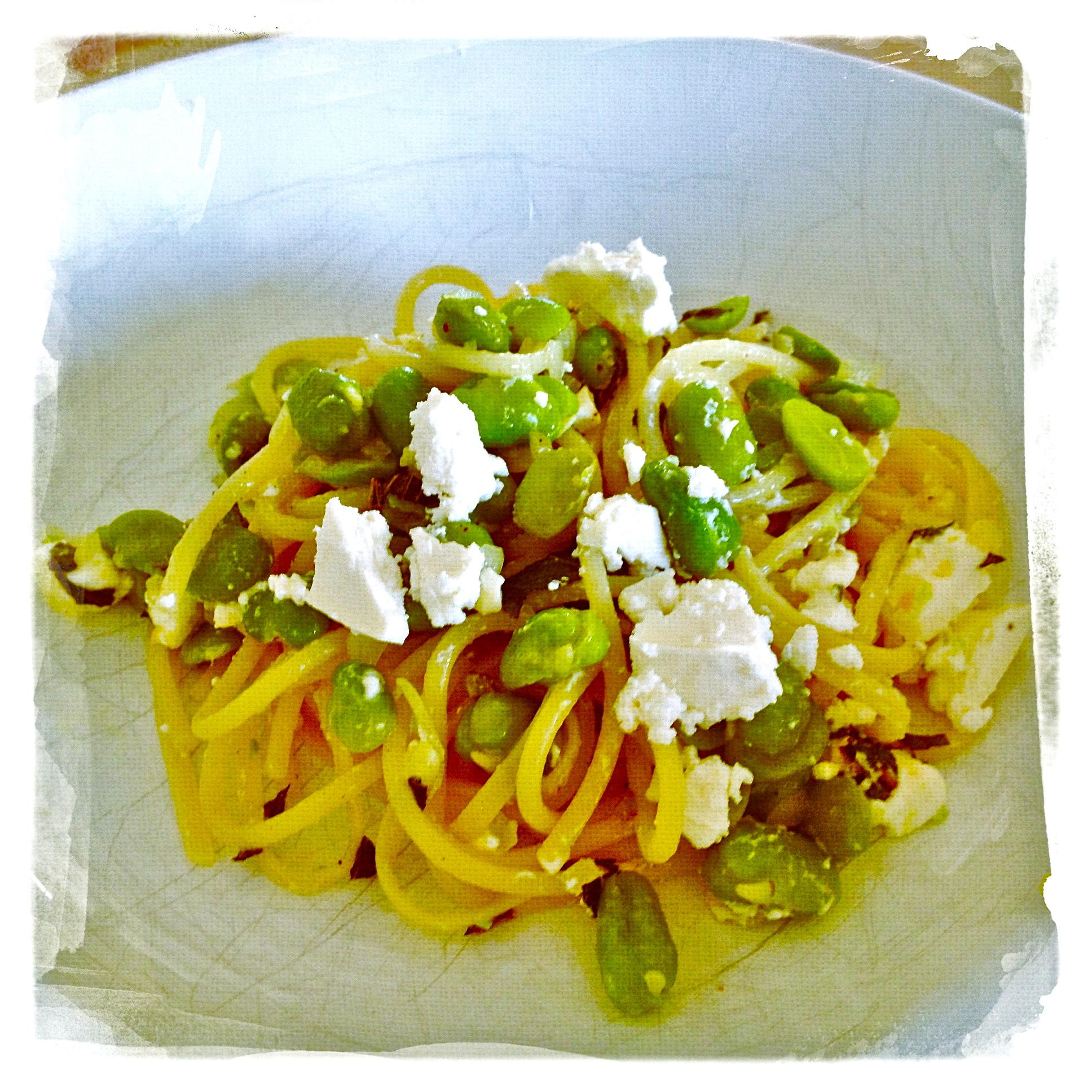 pasta met tuinboontjes, munt en feta recept miss foodie